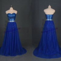 Floor length royal blue tulle prom dress with sequins,affordable evening party dress on sale,elegant women gowns for holiday hot.