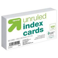 "Index Cards Unruled 3"" x 5"" 100ct White - up & up™"