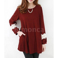 New Fashion Jewel Neck Long Sleeve Lace Splicing Loose-Fitting Maternity Women's Dress One Size (Color: Black)