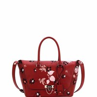 Valentino Demilune Medium Floral Satchel Bag, Red