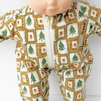 """Bitty Baby Clothes, fits 15"""" girl or boy doll, HANDMADE, Christmas Pajamas, new"""