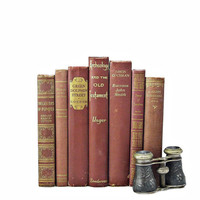 CHESTNUT 1940s Decorative Books, Wedding Decor,  brown Vintage Book Gift,  Old Antique, Instant Library,  Book Decor, Book Collection Sets,