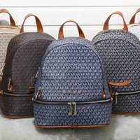 ONETOW Michael Kors' Fashion Casual Classic Letter Print Backpack MK Unisex Large Capacity Travel Double Shoulder Bag