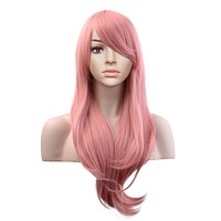28'' Long Pastel Pink Wavy Heat Resistant Cosplay Wig with Free Wig Cap