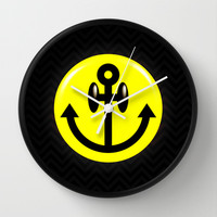 Anchor Smiley Wall Clock by chobopop