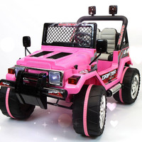 Jeep Wrangler Style 12V Kids Ride-On Car MP3 Battery Powered Wheels RC Remote | True Pink