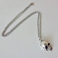 Skeleton Skull Necklace in Silver - Hypoallergenic Chain