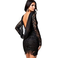 GALHAM - Long Sleeve Backless Women Sexy Lace Drape Mini Dress