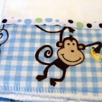 Baby Burp Cloth Monkey Checks Flannel with Blue Green Brown Ribbon