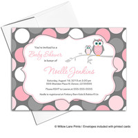 pink and gray baby shower invitation with owls   baby girl shower invite polkadots   printable or printed - WLP00731