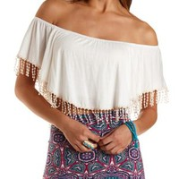Crocheted Fringe Flutter Crop Top by Charlotte Russe