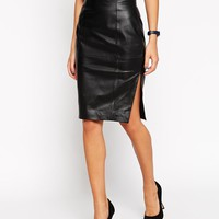 ASOS Petite | ASOS PETITE Pencil Skirt In Leather With Side Split at ASOS