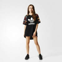 """""""Adidas"""" Fashion All-match Floral Pattern Letter  Dress"""