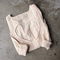 Reverse - Heart Cut Out Sweater in Beige