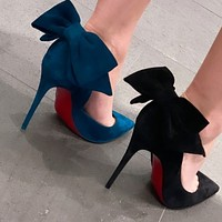 Christian Louboutin bow Pointed high heels 9/9