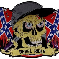 Rebel Rider Confederate Flag Skull Patch Embroidered Rider Jacket Vest Motorcycle