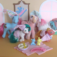 Pajama Party Lot of 5 My Little Ponies and Accessories - Princess Royal Blue, North Star, Bow Tie, Firefly, Baby Gusty