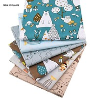 Nanchuang 6Pcs/Lot Bear&Fishes Twill Patchwork cotton Fabric For DIY Sewing Quilting Baby&Child Fat Quarters Material 40cmx50cm