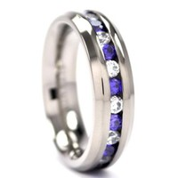 New 6 mm Titanium Ring with Amethyst and CZ's