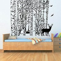 Wall Decals Bird Tree Branch Deer Decal Vinyl Sticker Bathroom Kitchen Window Baby Children Nursery Bedroom Home Decor Art Murals MN531