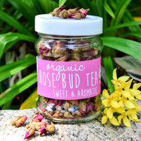 Organic Rose Bud Tea in a JAR  60g // Skin Purifier Herbal Tea // Fair-trade Tea // Aromatic Naturally Sourced // Flower Tea // Organic Tea