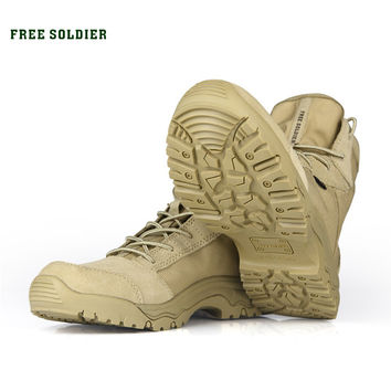 FREE SOLDIER outdoor shoes men's tactical boots for climbing breathable lightweight mountain boots hiking shoes