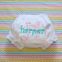 Monogrammed Infant Diaper Cover Bloomers - Newborn - Baby Girl - Gift - Personalized