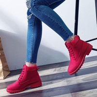 2018 Women's Winter Fur Shoes Brand Martin Boots Women Cute red Boots Quality Work Boots Flat Heel Ankle Boots for Women