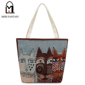 2017 Embroidery 3 Cats Faces Summer Beach/Travel  Bag