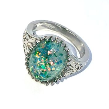 Vintage Green Opal Cabochon Ring