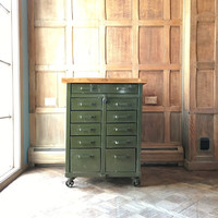1940s Industrial Workbench, 11 Drawers, Maple Butcher Block Top Industrial Parts Cabinet, Metal Tool Cabinet