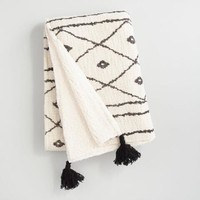 Black and Ivory Sherpa Throw Blanket