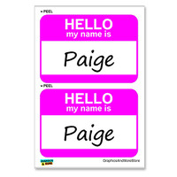 Paige Hello My Name Is - Sheet of 2 Stickers