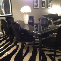 Fabulous and Baroque — French Carved Dining Table & 6 Chairs - Black - Client Photo - Fabulous & Baroque