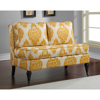 Cassidy French Yellow/ Cream Ikat Loveseat | Overstock.com Shopping - The Best Deals on Sofas & Loveseats