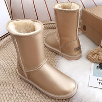 Ugg Hot Seller Of Stylish, Solid-colored Mid-leg Women's Casual Uggs With Wool Shoes Boots Shoes 1