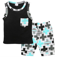 2pcs clothing set!! cute baby boy summer pocket vest sleeveless tops+cross print shorts outfit