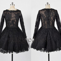 Custom Black ZuHai Murad Long Sleeves Short Prom Dresses Party Dress Wedding Party Dress Homecoming Dresses Evening Dresses Homecoming Dress