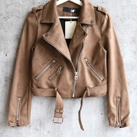 suede with love cropped moto jacket - more colors