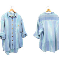 Vintage 90s Baja Shirt Thick Cotton Striped Blue Boyfriend Shirt Long Sleeve Button Up California Style Oversized Grunge Shirt Mens Large