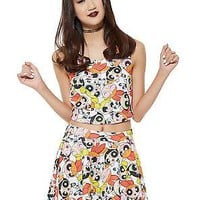 Licensed cool NEW The Powerpuff Girls Allover Crop Top Sleeveless Blouse Tank Juniors XS-L NWT