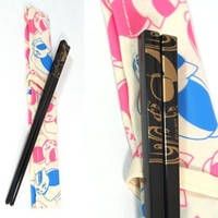 Black Nyanko Sensei Chopsticks + White Cover