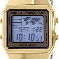Men's Gold-Tone Casio World Time Stainless Steel Watch A500WGA-9