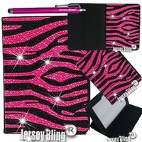 """Jersey Bling® BLING Universal Kindle Fire 7"""" HD 1st & 2ND GEN, HDX, NON-HD, Crystal and Rhinestone Faux Leather Case with Built-In Stand, FREE Stylus (Pink & Black ZEBRA)"""
