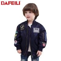 Trendy 2017 Patches 2-12 years old Kids autumn bomber flight jacket ma-1 pilot air force baby boys windbreaker kids child baseball coat AT_94_13