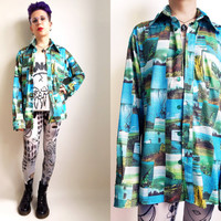 70s Clothes/ 1970's Vintage Shirt Men's Button Up Shirt Scenic Patchwork Long Sleeve Shirt Patterned Disco Shirt Men's Size Extra Large