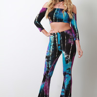 Tie-Dye Jersey Knit Flare High Waisted Pants