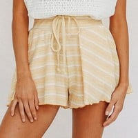 High Waist Shorts Women Flare Leg Opening Loose Shorts Lace Up Stripe Casual Shorts