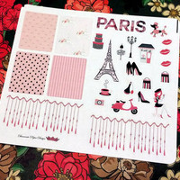 25 kiss cut and ready to peel off Paris Theme Stickers! Perfect for your Erin Condren Life Planner, Filofax, Kikkik, Plum Paper