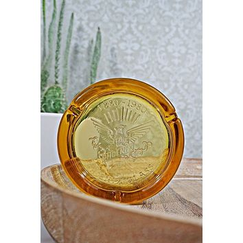 Vintage Phoenix Glass  Amber Ashtray